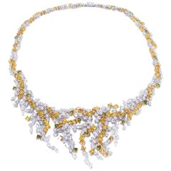 Yellow & White Gold 18 K, Diamond Marquise - Round, Unique Art Royale Necklace