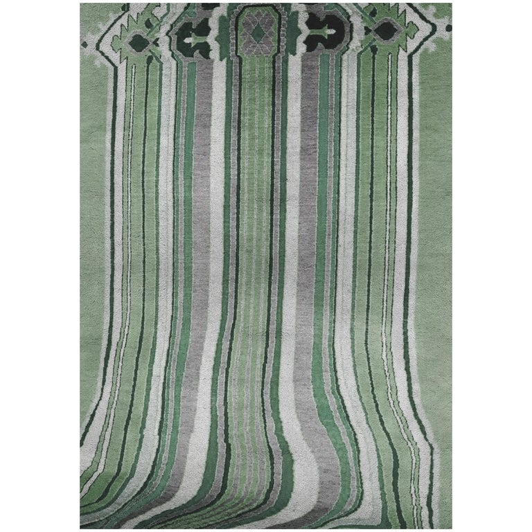 Royalis Rug in Hand-Knotted Wool and Botanical Silk For Sale
