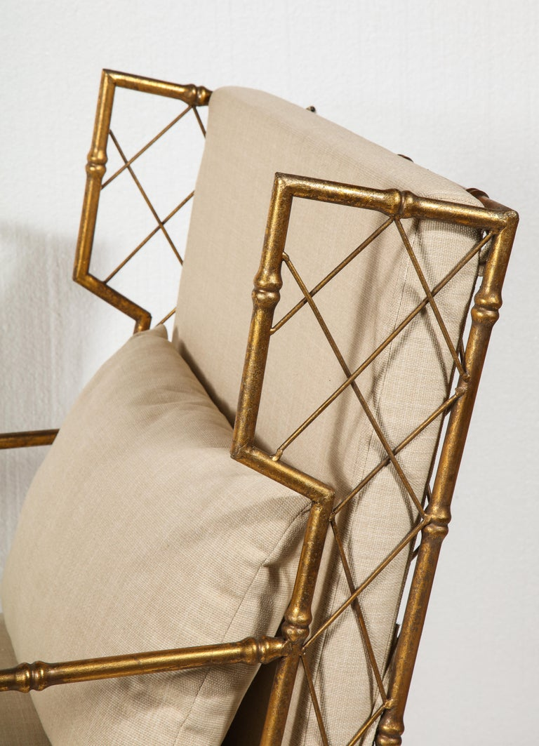 Gold Metal Lattice Pair, Lounge Chairs, France For Sale 4