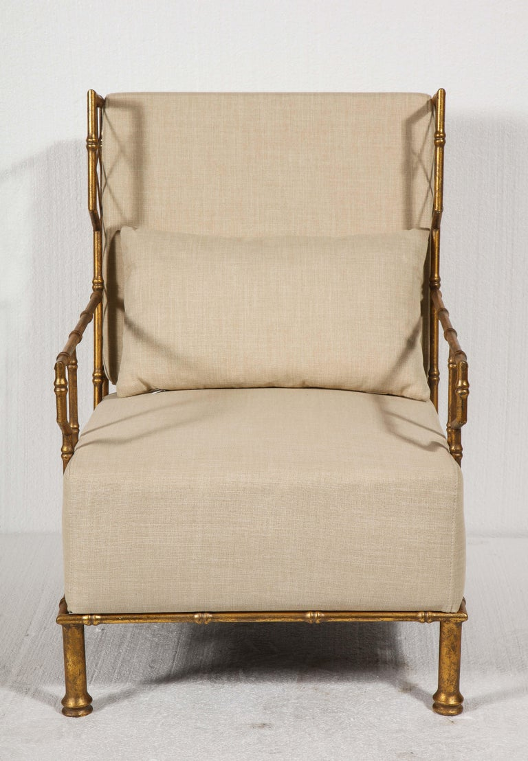 Gold Metal Pair, Lounge Chairs, France For Sale 5