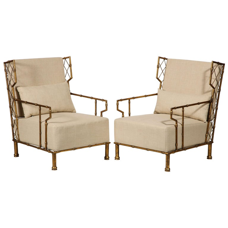 Gold metal pair, lounge chairs, France  Beautiful lounge chairs, made in France. Midcentury style, with beige fabric. Comfortable and beautiful. In the style of Jean Royère, midcentury. Deep and comfortable.