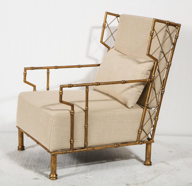 Mid-Century Modern Gold Metal Lattice Pair, Lounge Chairs, France For Sale