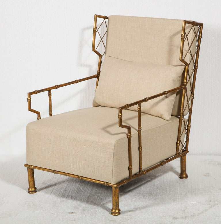 French Gold Metal Lattice Pair, Lounge Chairs, France For Sale