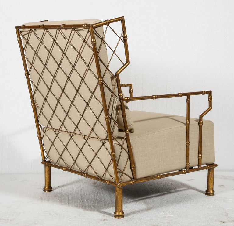 Gold Metal Lattice Pair, Lounge Chairs, France In New Condition For Sale In New York, NY