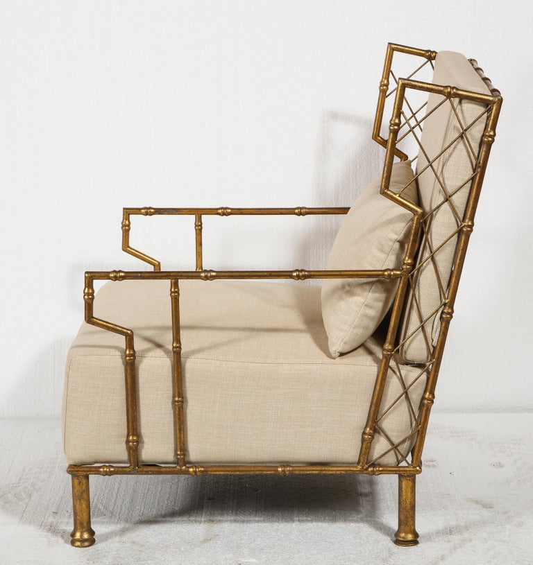 Contemporary Gold Metal Lattice Pair, Lounge Chairs, France For Sale