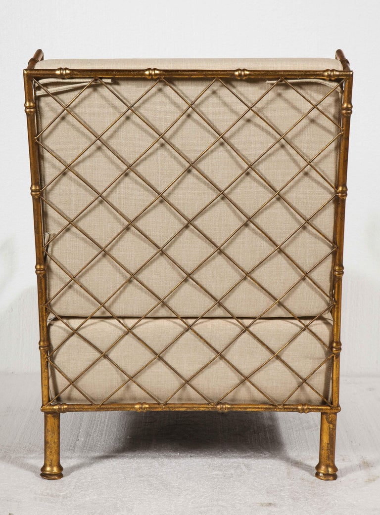 Gold Metal Lattice Pair, Lounge Chairs, France For Sale 1
