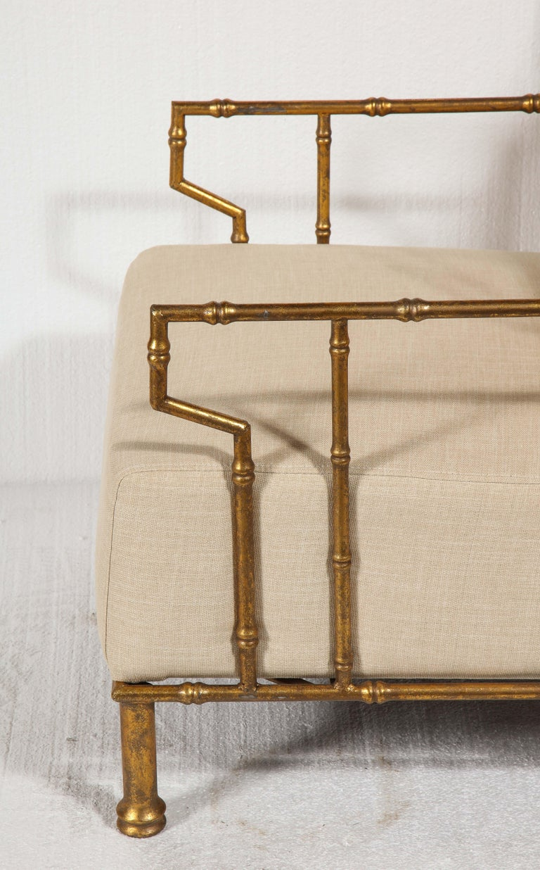 Gold Metal Pair, Lounge Chairs, France For Sale 2