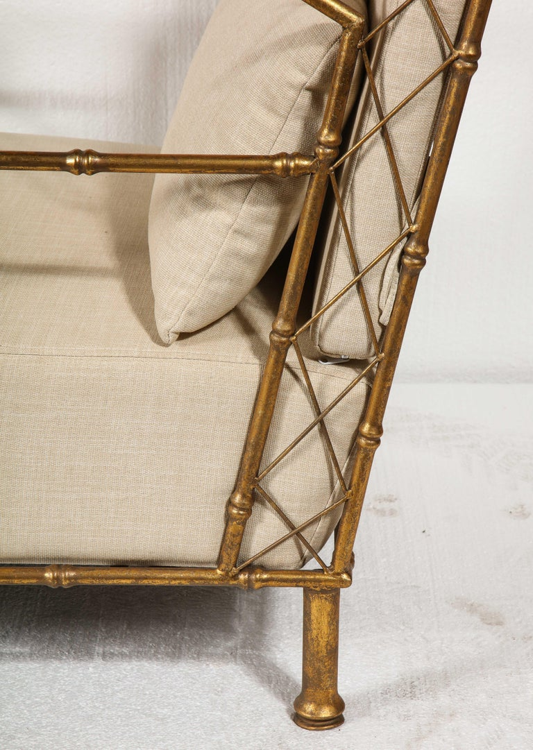 Gold Metal Pair, Lounge Chairs, France For Sale 3