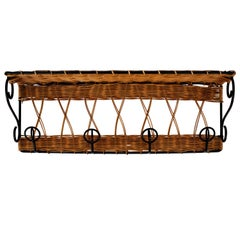 Wicker and Iron Coat Rack