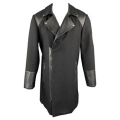 ROYGBM Size 40 Black Wool & Leather Asymmetrical Zip Biker Coat