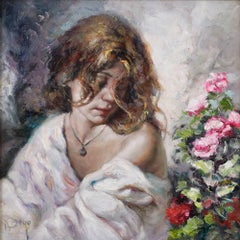 Figurative Portrait Painting of Young Girl by Royo 'Summer Beauty'