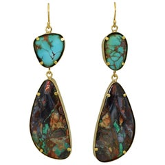 Royston Turquoise and Arizona Boulder Malachite 22 Karat Gold Dangle Earrings