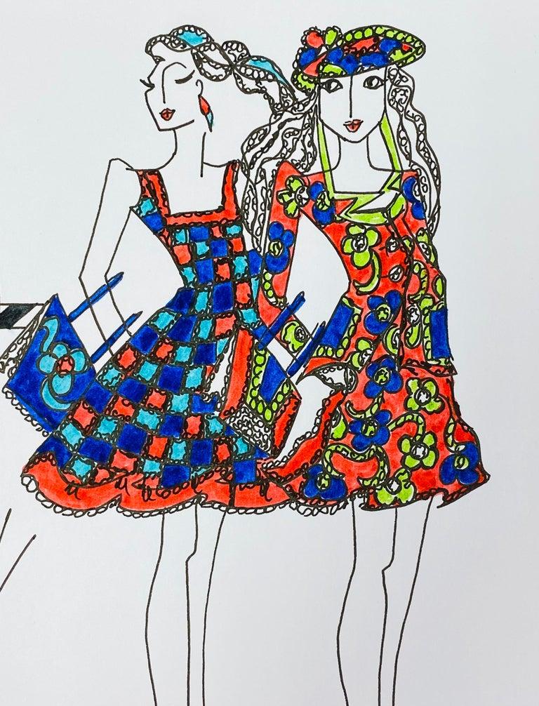 Original Fashion Design Illustration Watercolor Painting Laura Ashley Designer - Gray Figurative Painting by Roz Jennings
