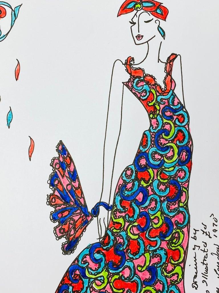 Original Fashion Design Illustration Watercolor Painting Laura Ashley Designer - Beige Figurative Painting by Roz Jennings