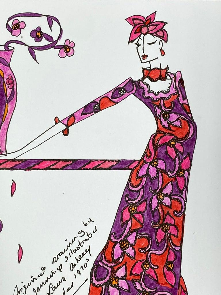Original Fashion Design Illustration Watercolor Painting Laura Ashley Designer - Art by Roz Jennings