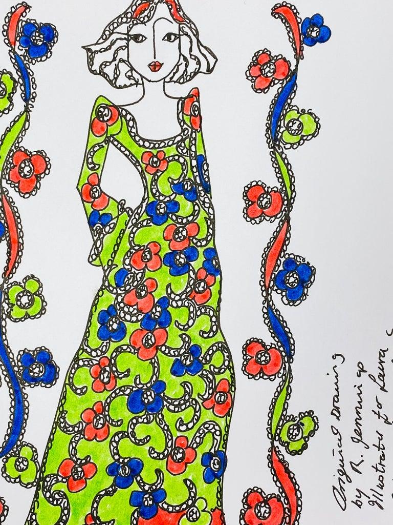 Original Fashion Design Illustration Watercolor Painting Laura Ashley Designer - Pop Art Art by Roz Jennings