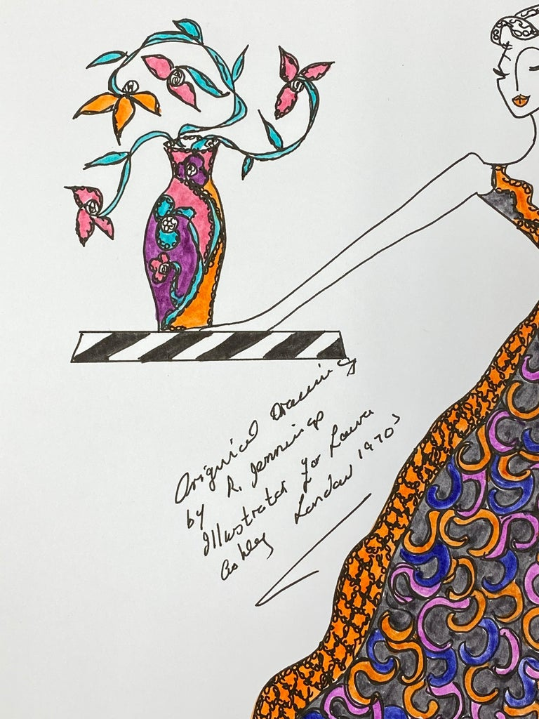 Original Fashion Design Illustration Watercolor Painting Laura Ashley Designer - Gray Figurative Art by Roz Jennings