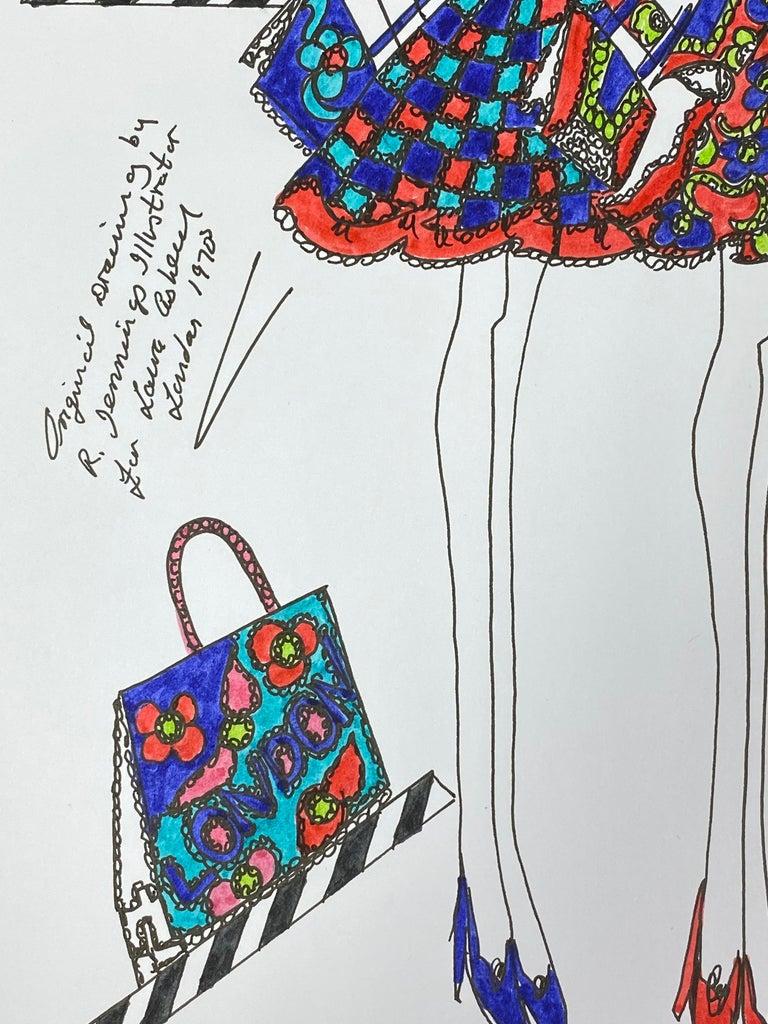 Original Fashion Design Illustration Watercolor Painting Laura Ashley Designer For Sale 1