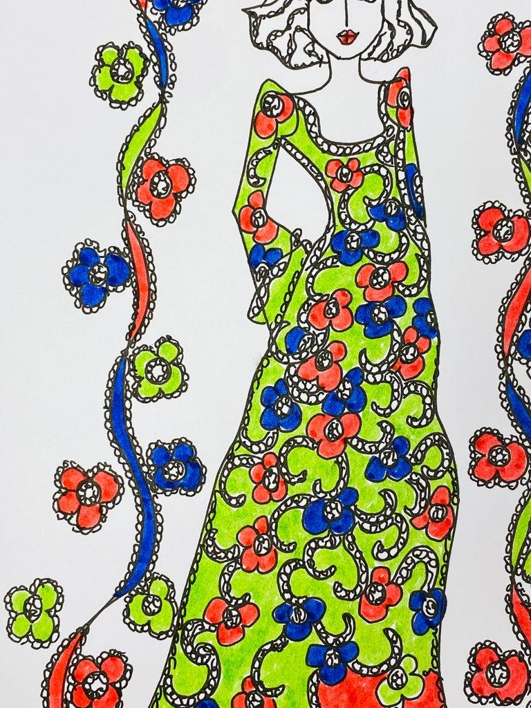 Original Fashion Design Illustration Watercolor Painting Laura Ashley Designer - Beige Figurative Art by Roz Jennings