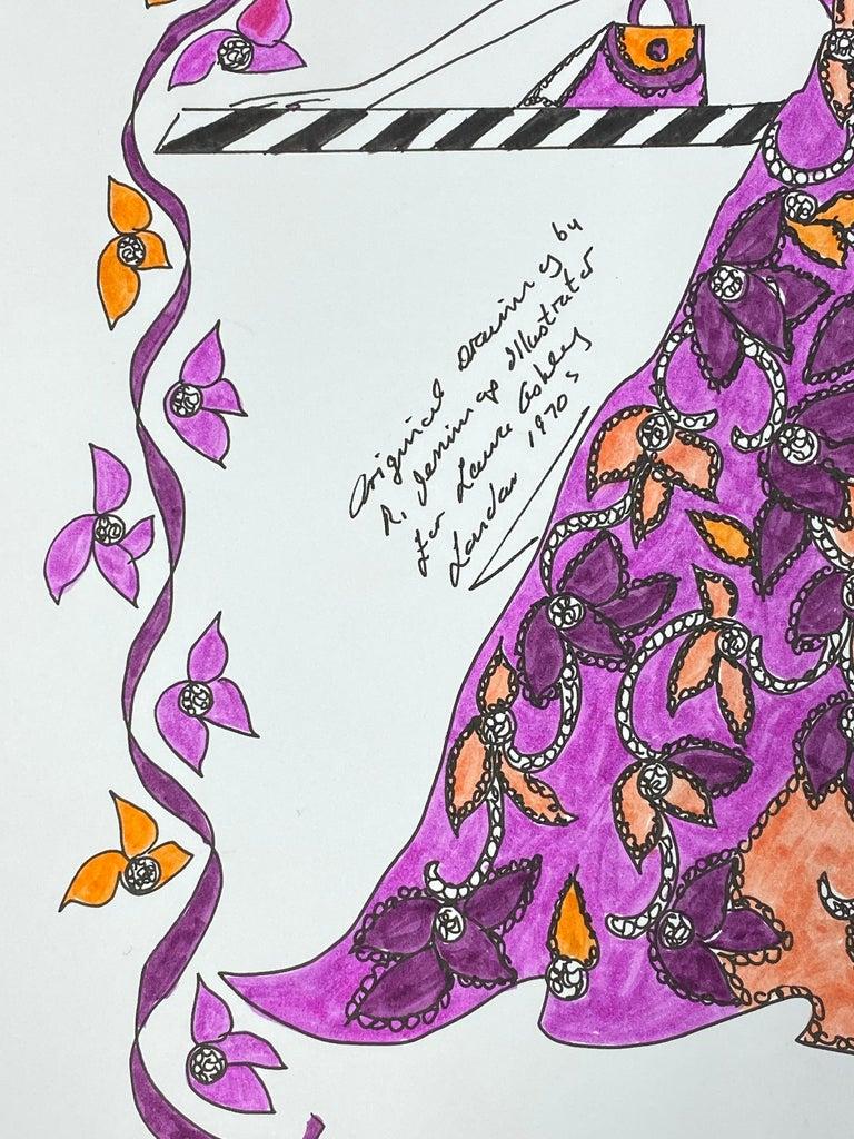 Original Fashion Design Illustration Watercolor Painting Laura Ashley Designer 1