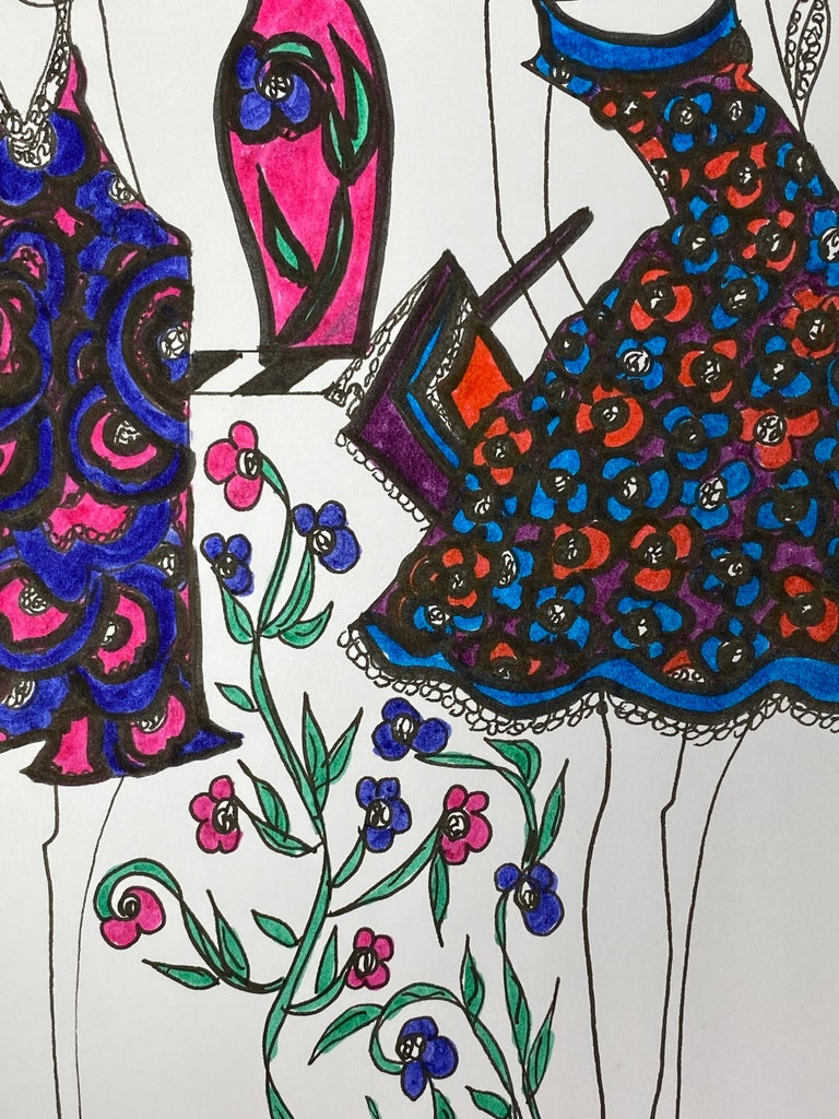 Original Fashion Design Illustration by Roz Jennings, British watercolor and ink on card, unframed size: 12 x 8.25 inches condition: very good  A beautifully colorful and characterful original artwork by British fashion designer, Roz Jennings. We
