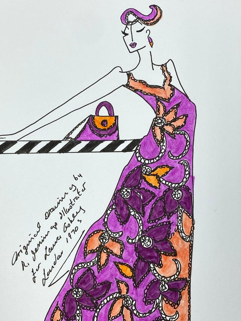 Original Fashion Design Illustration Watercolor Painting Laura Ashley Designer 2