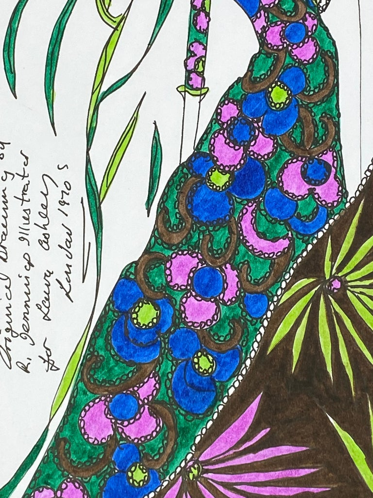 Original Fashion Design Illustration Watercolor Painting Laura Ashley Designer For Sale 2