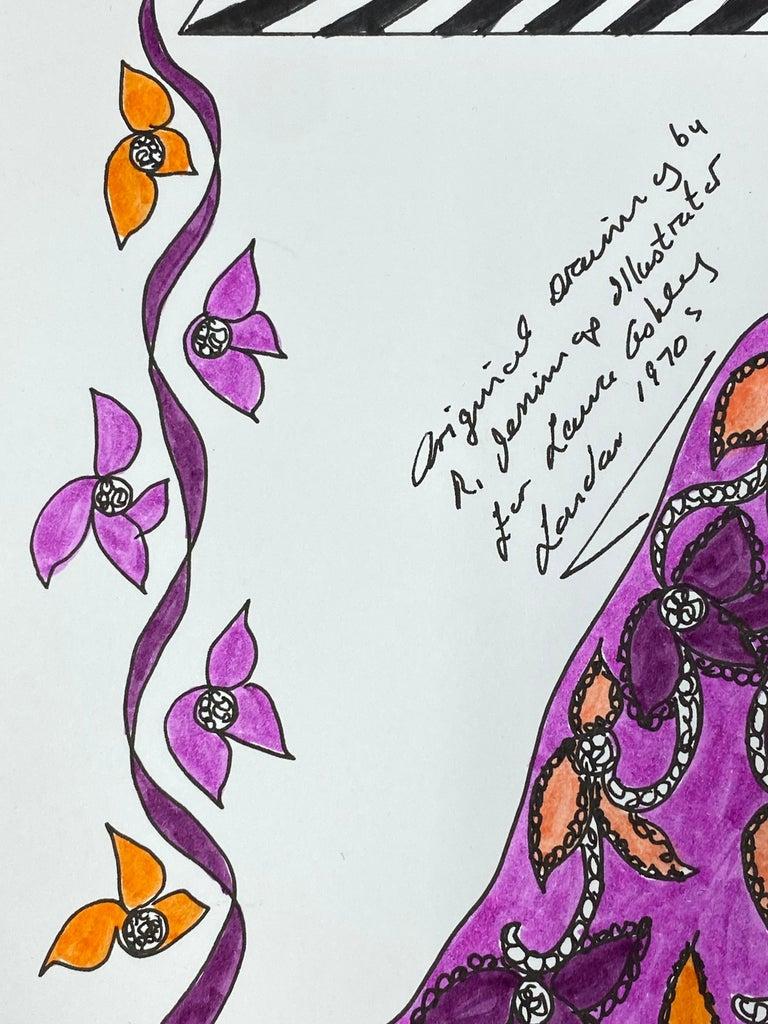 Original Fashion Design Illustration Watercolor Painting Laura Ashley Designer 3