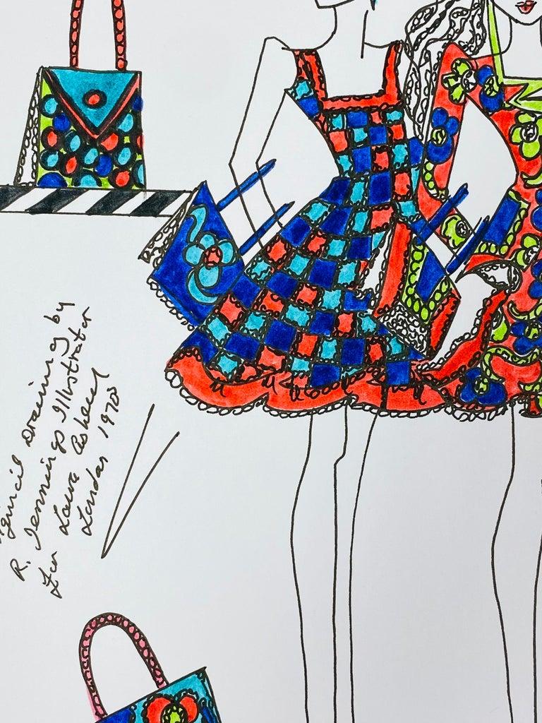 Original Fashion Design Illustration Watercolor Painting Laura Ashley Designer For Sale 4