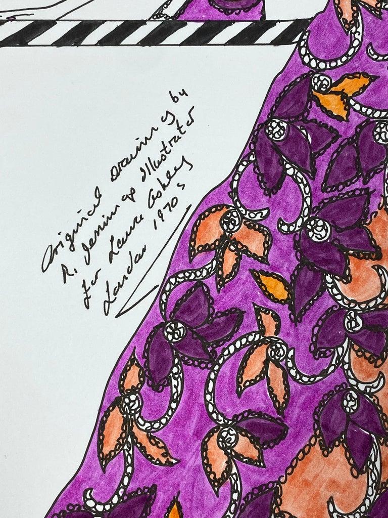 Original Fashion Design Illustration Watercolor Painting Laura Ashley Designer 4