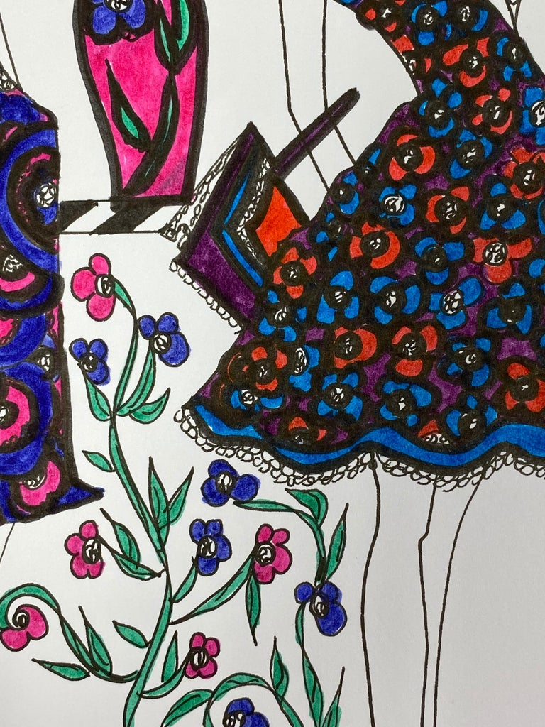 Original Fashion Design Illustration Watercolor Painting Laura Ashley Designer For Sale 3