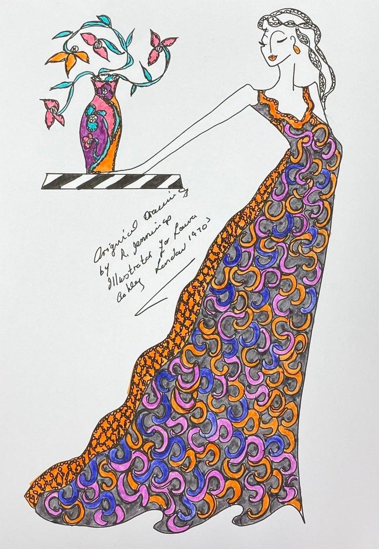 Roz Jennings Figurative Art - Original Fashion Design Illustration Watercolor Painting Laura Ashley Designer
