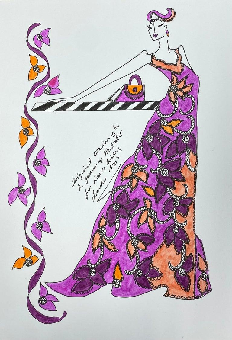 Roz Jennings Figurative Painting - Original Fashion Design Illustration Watercolor Painting Laura Ashley Designer