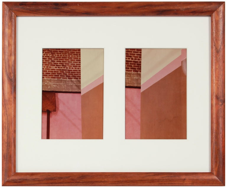 """This 1970's color photograph diptych of a pink and brick San Francisco wall entitled """"City Art 17"""" is by New York/San Francisco photographer Roz Joseph (1926-2019). Joseph travelled extensively through Europe, North Africa, and Asia in the 1960s"""