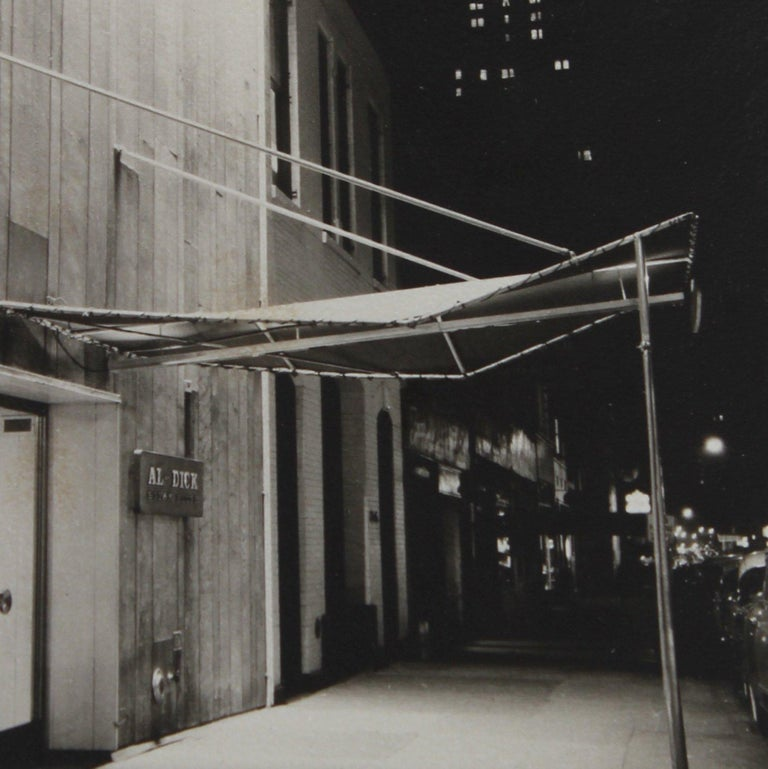 City Street at Night 1960s Black and White Photograph 1