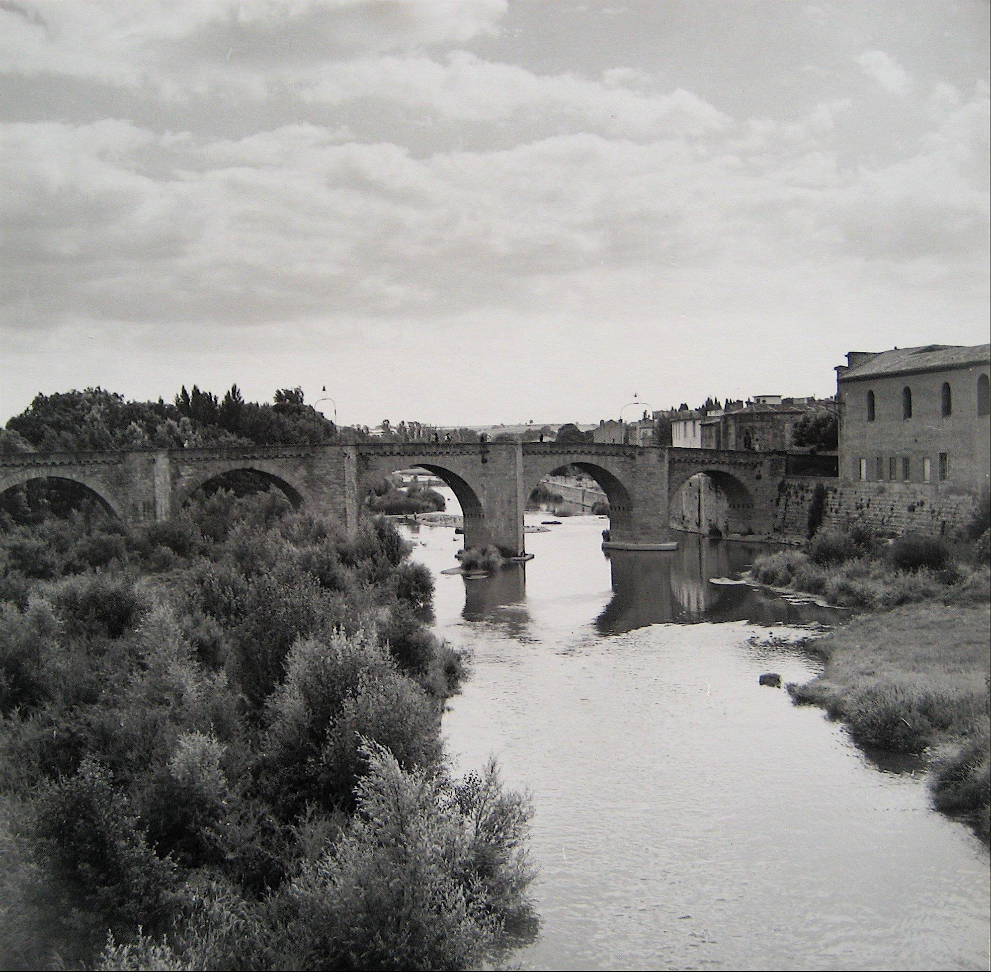 European Bridge Over Water 1960s Black and White Photograph
