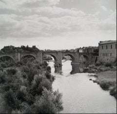 European Bridge Over Water 1960s Black and White Photograph