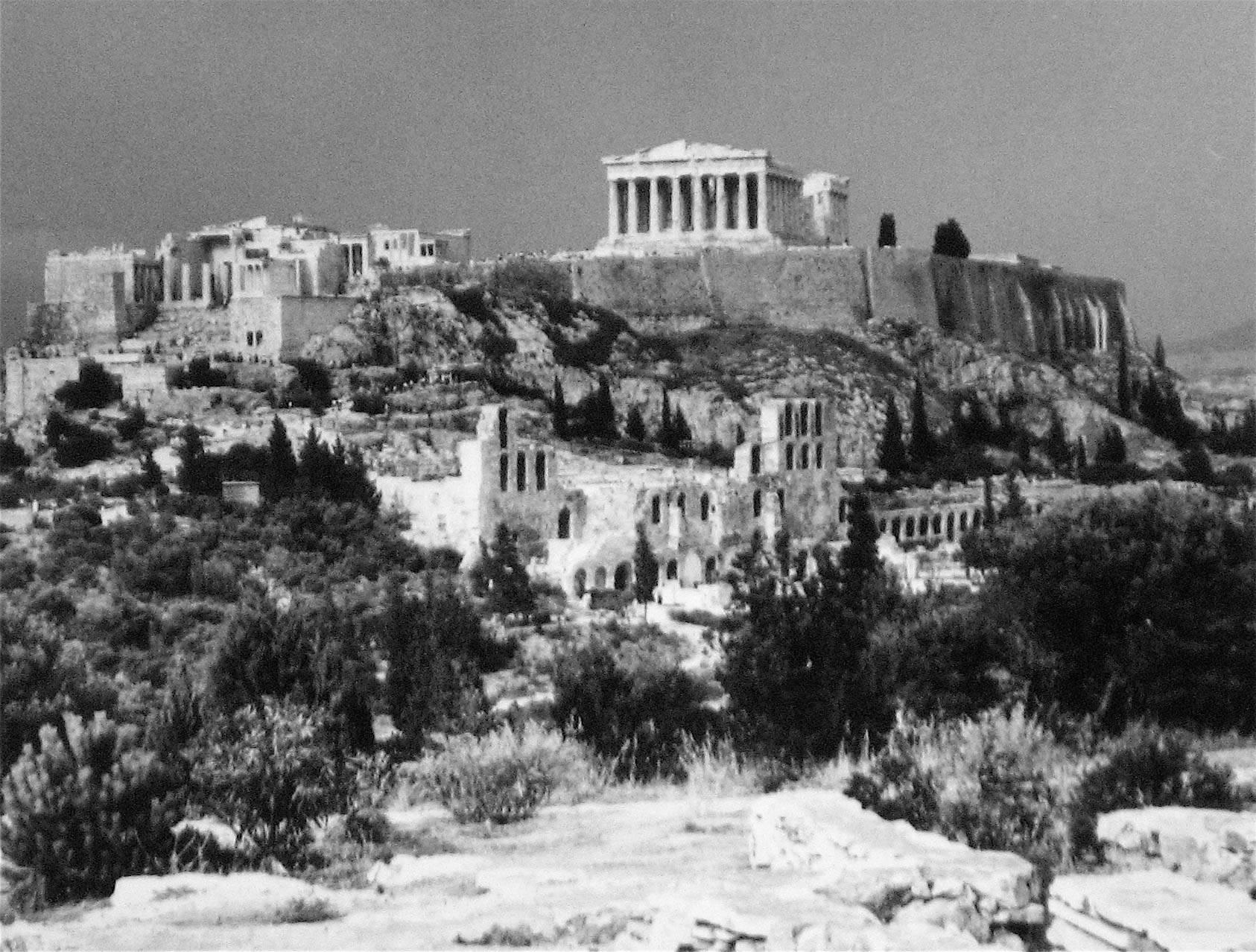 Roz joseph greek hillside with ruins black and white photograph