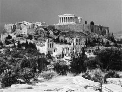 Greek Hillside with Ruins, Black and White Photograph, 1960s