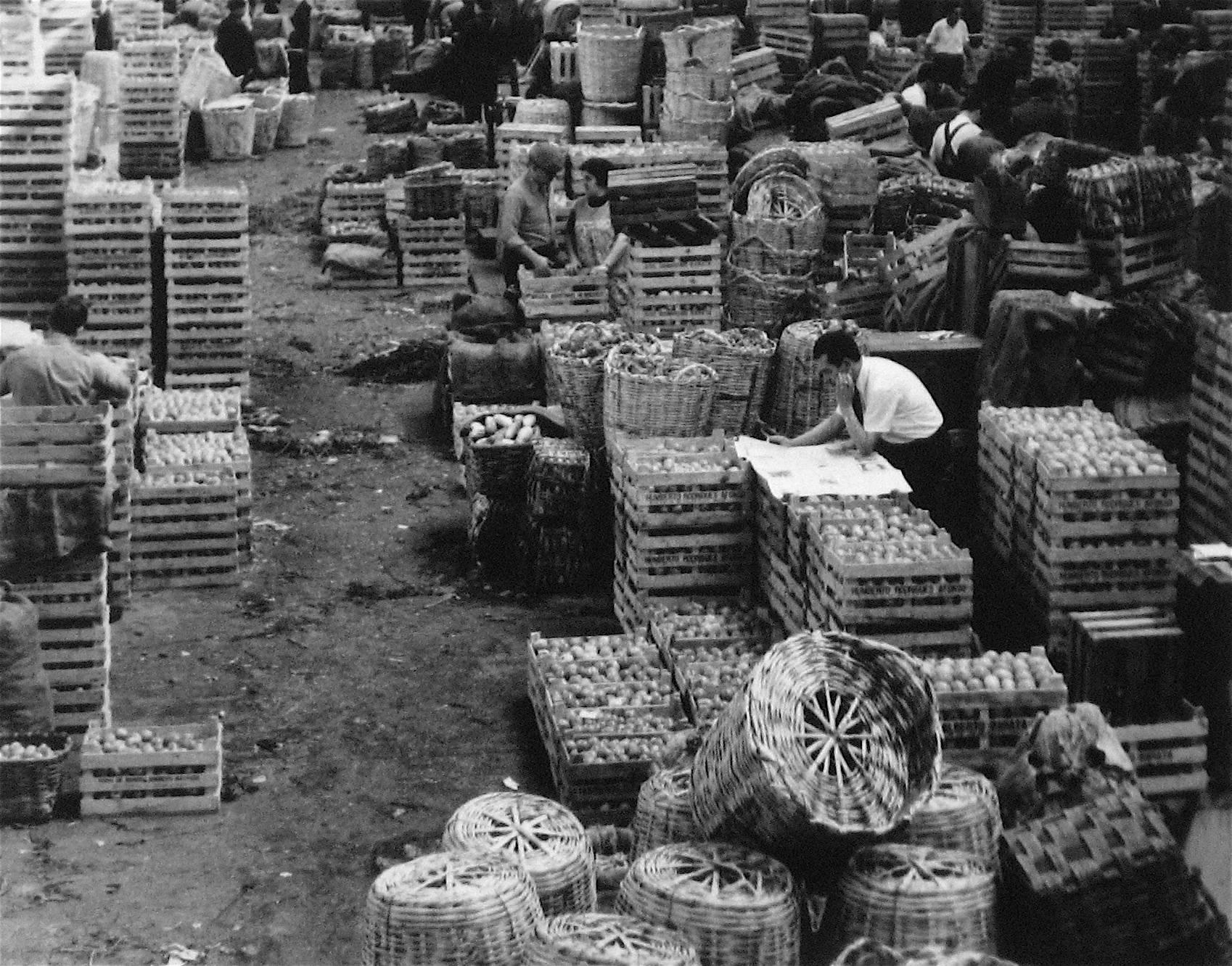Lisbon, Portugal Marketplace, Black and White Photograph, 1960s
