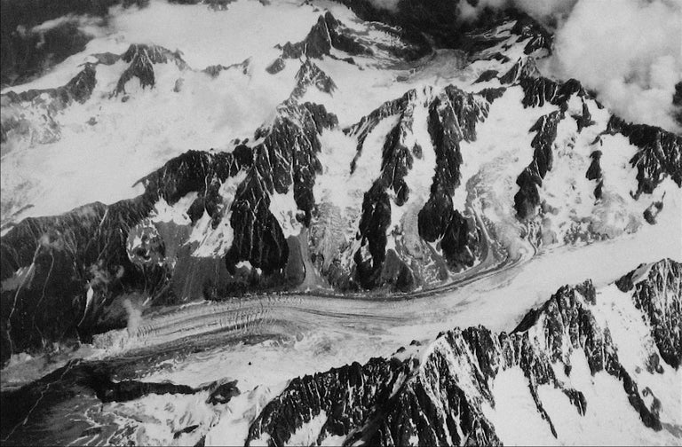 This 1960s black and white photograph of a Swiss mountain range in snow is by New York/San Francisco photographer Roz Joseph (b. 1926). Joseph travelled extensively through Europe, North Africa, and Asia in the 1960s shooting in black and white and