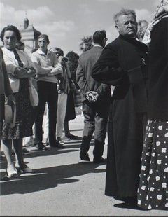 People in Que City Scene 1960s Black and White Photograph