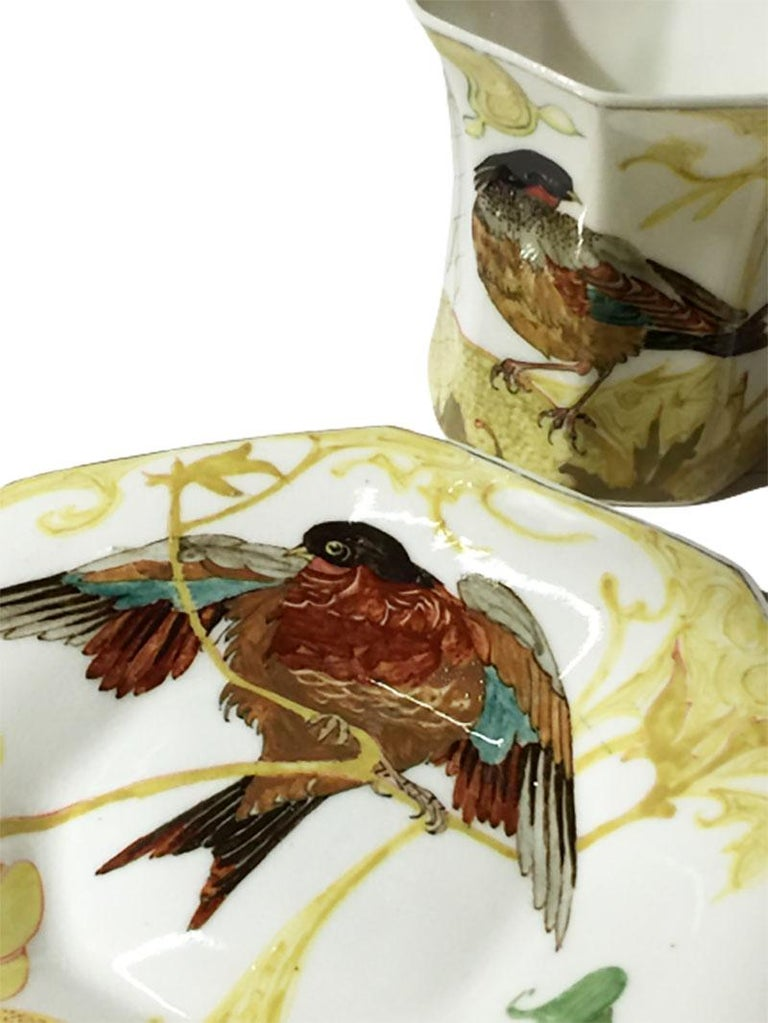 Dutch Rozenburg Egg-Shell Cup and Saucer with Bird and Floral Decor, 1913 For Sale
