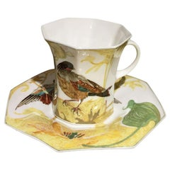 Rozenburg Egg-Shell Cup and Saucer with Bird and Floral Decor, 1913