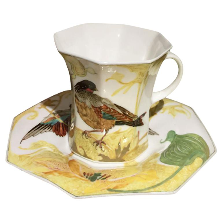 Rozenburg Egg-Shell Cup and Saucer with Bird and Floral Decor, 1913 For Sale
