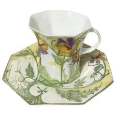 Rozenburg Egg-Shell Cup and Saucer with Floral Decor, 1910