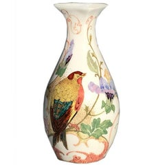 Rozenburg Egg-Shell Tiny Vase with Colorful Bird and Floral Decor