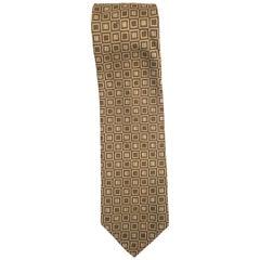 RP handmade silk brown beige tie
