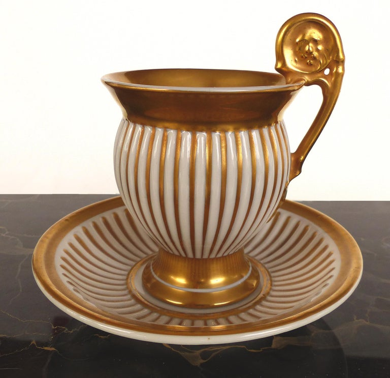 R.P.M. Germany Porcelain Gilt Decorated Demitasse Cup and Saucer In Good Condition For Sale In Miami, FL