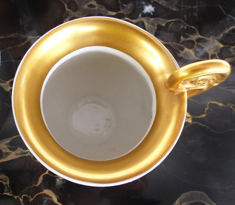 R.P.M. Germany Porcelain Gilt Decorated Demitasse Cup and Saucer For Sale 2